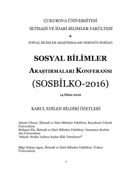 KABUL EDİLEN BİLDİRİ ÖZETLERİ ()