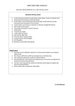 3. Sınıflar İhtiyaç Listesi