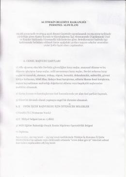 Konya Altınekin Belediyesi personel alım ilanı