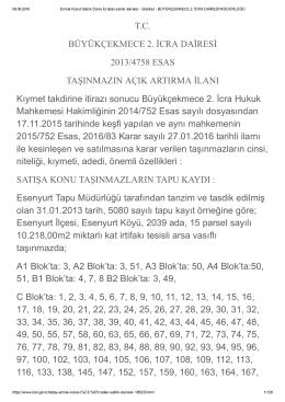 T.C. BÜYÜKÇEKMECE 2. İCRA DAİRESİ 2013/4758 ESAS