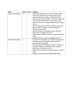 Birim Adet Unvan Açıklama Mali İşler Müdürlüğü 1 Vakıf