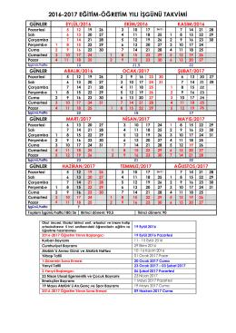 2016-2017 eğitim-öğretim yılı işgünü takvimi