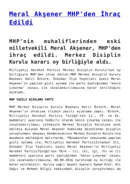 Meral Akşener MHP`den İhraç Edildi