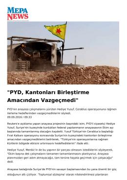 PYD, Kantonları Birleştirme Amacından Vazgeçmedi