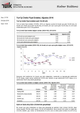 Yurt İçi Üretici Fiyat Endeksi-(Ağustos 2016