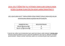 2016-2017 Özel Yetenek Sınavları Yedek Kayıt Duyurusu!