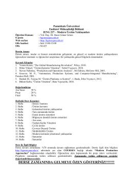 Ders İçeriği - Pamukkale Üniversitesi
