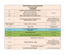 üniversiteye uyum programı 21 eylül 2016 çarşamba