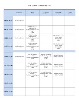 pdr 2. sınıf ders programı