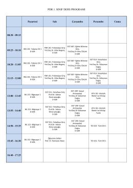 pdr 1. sınıf ders programı
