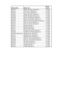 ders kodu ders adı sınav yeri huk303 borçlar özel hukuku ı 8.amfi