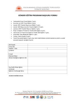 günder eğitim programı başvuru formu