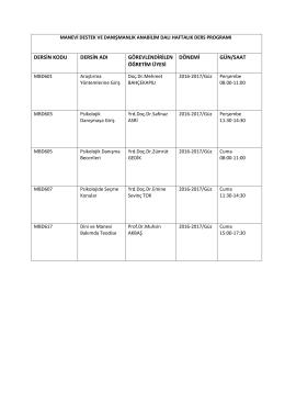 dersin kodu dersin adı görevlendirilen öğretim üyesi dönemi gün/saat