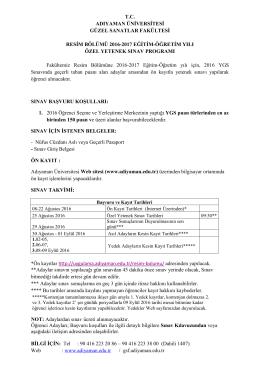 2016-2017 Eğitim-Öğretim Yılı Özel Yetenek Sınav Programı