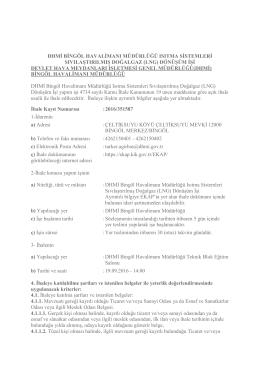 DHMİ Bingöl Havalimanı Müdürlüğü Isıtma Sistemleri LNG
