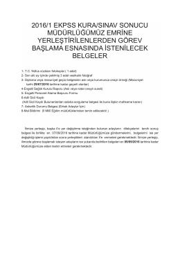 2016/1 ekpss kura/sınav sonucu müdürlüğümüz emrine