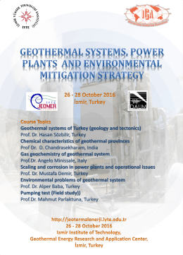 Geothermal systems of Turkey (geology and tectonics) Prof. Dr