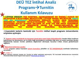 DEÜ Turnitin TEZ İntihal Analiz Programı Kullanım Kılavuzu için