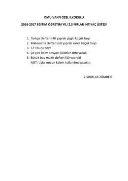 2. Sınıflar İhtiyaç Listesi