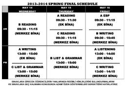 2013-2014 sprıng fınal schedule