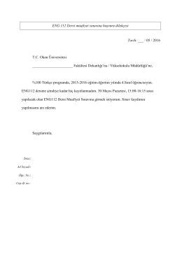 ENG 112 Dersi muafiyet sınavına başvuru
