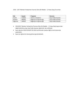 2016 – 2017 Merkezi Yerleştirme Puanına Göre (Ek Madde – 1