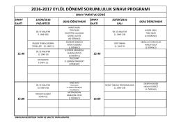2016-2017 eylül dönemi sorumluluk sınavı programı
