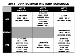 2013 - 2014 summer mıdterm schedule