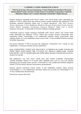 """YATIRIMCI TAZMİN MERKEZİ DUYURUSU """"6362 Sayılı Sermaye"""
