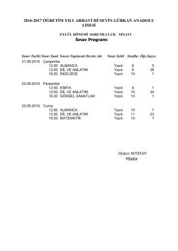 Eylül Dönemi Sorumluluk Sınavı Sınav Programı
