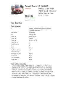 Renault Scenic 1.6 16V RXE 24.000 TL İlan detayları