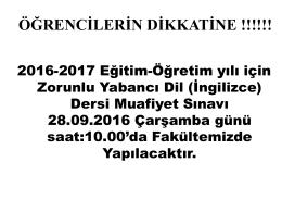 ÖĞRENCİLERİN DİKKATİNE !!!!!!
