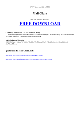 MALI GFDRR | Free Ebook