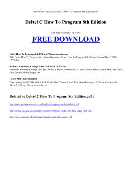 deitel c how to program 8th edition