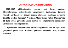 ORYANTASYON DUYURUSU