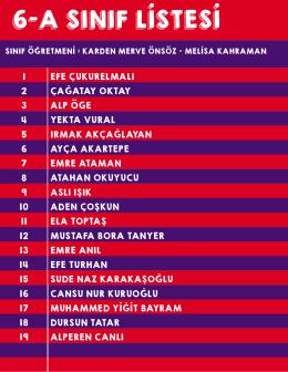 6-a sınıf listesi