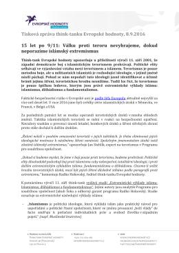 Tisková zpráva think-tanku Evropské hodnoty, 8.9.2016 15 let po 9/11