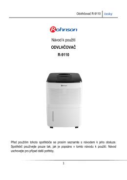 Odvlhčovač vzduchu Rohnson R-9110 - návod k - Chytry