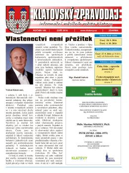 Klatovský zpravodaj 9/2016