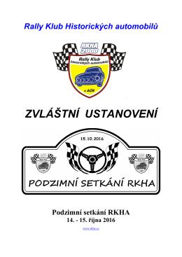 zvláštní ustanovení - Rally klub historických automobilů