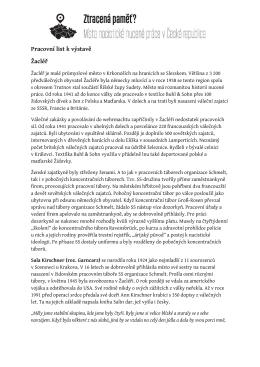 Pracovní list k výstavě Žacléř