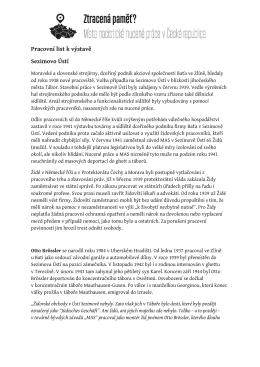 Pracovní list k výstavě Sezimovo Ústí