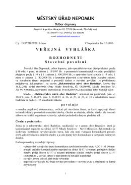 Rozhodnutí - Stavební povolení č.j.