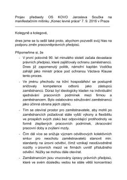 """""""Konec levné práce"""" 7. 9. 2016 v Praze"""