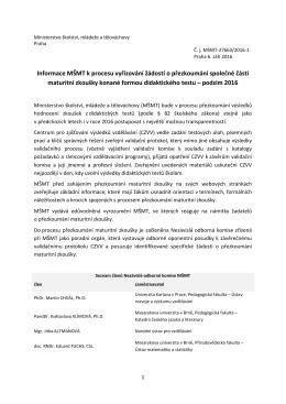 Informace MŠMT k procesu vyřizování žádostí o přezkoumání