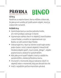Bingo - pravidla CZ PDF dokument