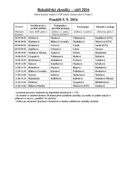 Rozpis SZZ Pastorační a sociální práce 5.