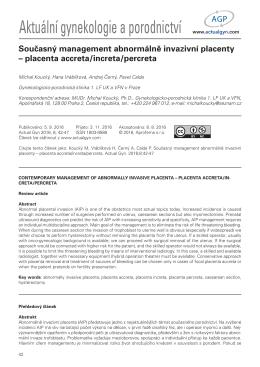 Současný management abnormálně invazivní placenty – placenta
