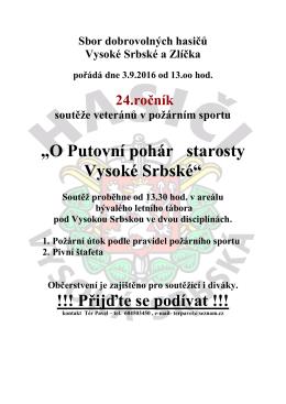 Pozvánka na soutěž do Vysoké Srbské dne 3.9.2016