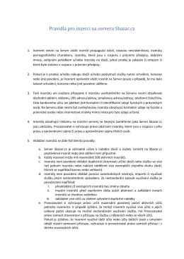 Pravidla pro inzerci na serveru Sbazar.cz